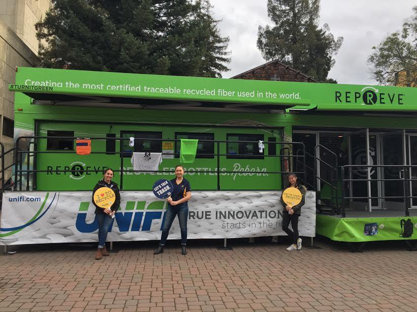 UNIFI's REPREVE mobile trailer tour at Cal Zero Waste's pre-game event